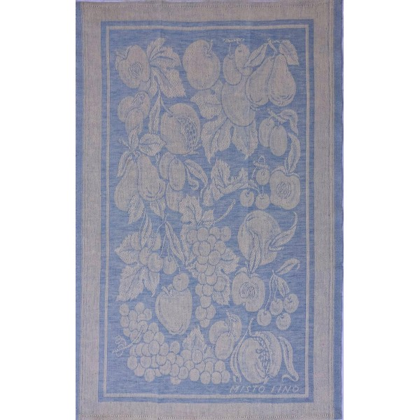 Tea Towel - Linen Blend -  Light Blue -Fruit Decoration