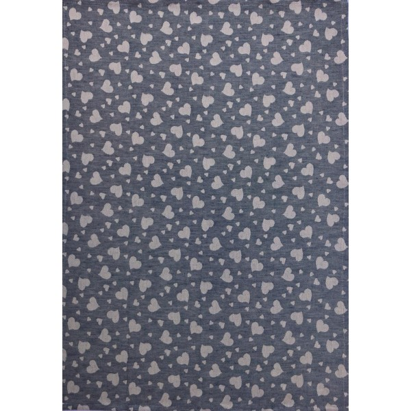 Tea Towel -Blend Linen - Avio Color - Hearts decoration