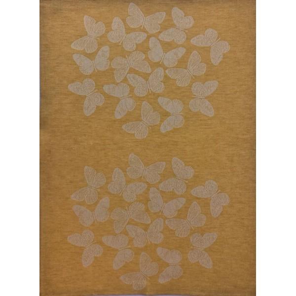 TeaTowel - Linen Blend - Yellow Color - Butterflies Decor