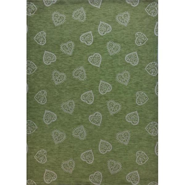 Tea Towel -Blend Linen - Green Color - Hearts decoration