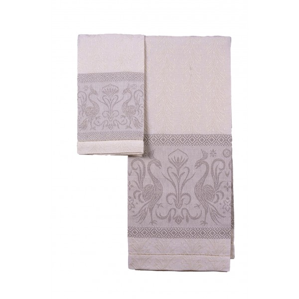 Pair of Linen Blend Towels - Grifo
