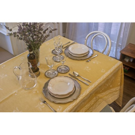 Olive mixed linen table cover