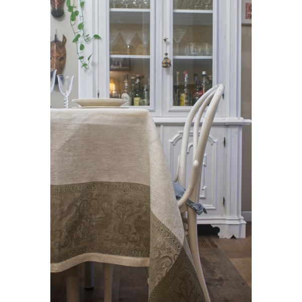 Pure Linen Tablecloth With Grifo Design Bands