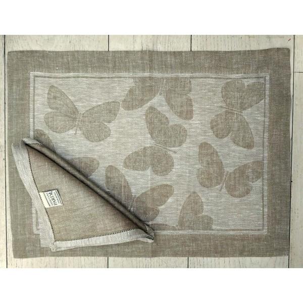 American Set In Pure Linen With Butterflies Design