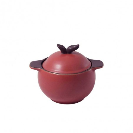 Pot with Plum-colored Lid